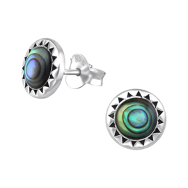 silver Tribal stud earrings with mother-of-pearl
