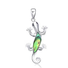 zilveren hagedis gekko hanger met parelmoer