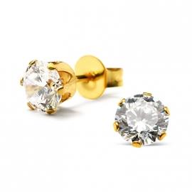 goud staal kristal oorknopjes 5 mm