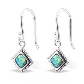 Zilveren opaal oorbellen