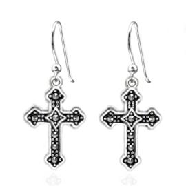 zilveren kruis oorbellen met Marcasiet