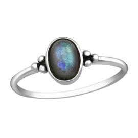 zilveren ring Labradoriet edelsteen