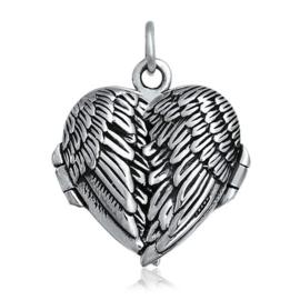 zilveren engelvleugels medallion hartje hanger