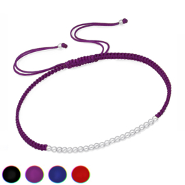 braided rope bracelet with silver beads