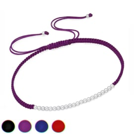 gevlochten touw armband met zilveren bolletjes