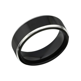 zwart stalen heren band ring