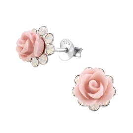 Zilveren roze roos kristal oorbellen
