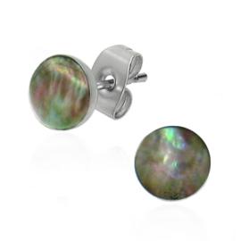 steel mother-of-pearl stud earrings