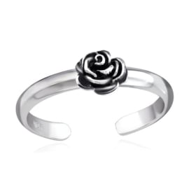 silver toe ring rose