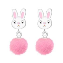 zilveren konijnen oorbellen pom pom