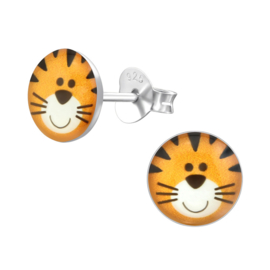 Zilveren kinderoorknopjes tijger