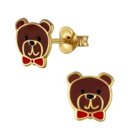 zilveren goud beer oorbellen