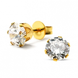 Gold plated  stalen kristal oorknopjes 6 mm