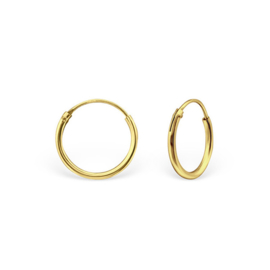 zilveren gold plated creolen 14 mm