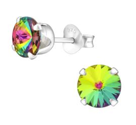 silver earrings crystals Vitrail 6 mm