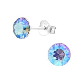 zilveren oorknopjes Swarovski kristal Light Sapphire Shimmer