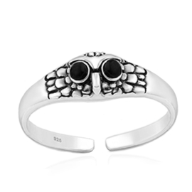 silver toe ring owl
