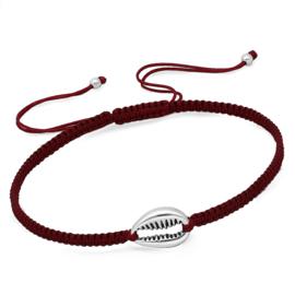 gevlochten armband met zilveren Kauri schelp