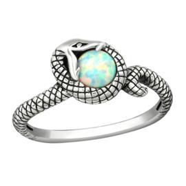 zilveren slang ring met Opaal edelsteen