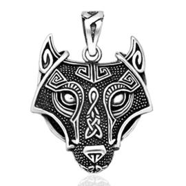 silver celtic wolf necklace pendant