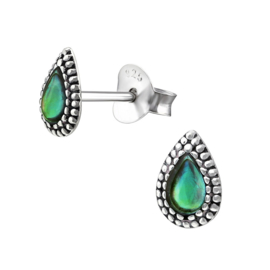zilveren druppel oorbellen Abalone Parelmoer