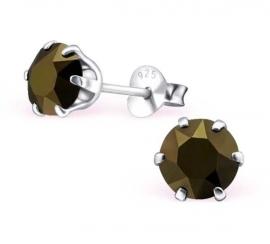 zilveren oorknopjes met  Swarovski Metallic 6 mm