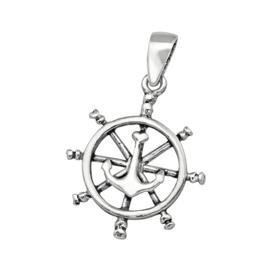 Zilveren anker wiel kettinghanger