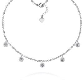 Zilveren choker ketting met ronde zirkonia bedeltjes