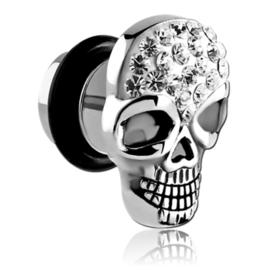 Fake plug piercing doodskop met kristal
