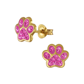 silver gold animal paws earrings with pink crystals