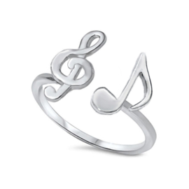 zilveren muzieknoot ring