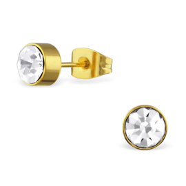 gold steel round stud earrings crystal