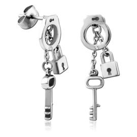 Stalen handboeien sleutel oorbellen