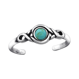 silver toe ring Turquoise stone