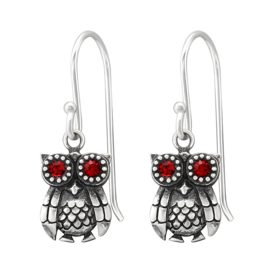 silver owl earrings with crystal