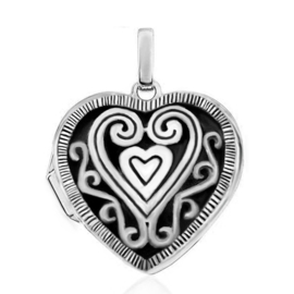 Zilveren  foto medaillon hartje kettinghanger