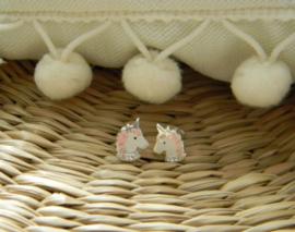 Zilveren eenhoorn oorbellen kristal