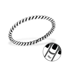 zilveren knokkel ring gevlochten