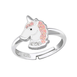 zilveren eenhoorn kristal kinder-ring