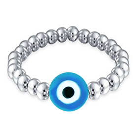 zilveren bolletjes ring Turkse oog
