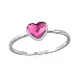 zilveren ring Swarovski kristal roze hartje