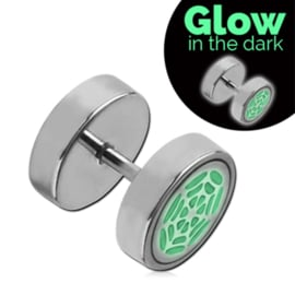 Glow in the dark fake tunnel earring spider web