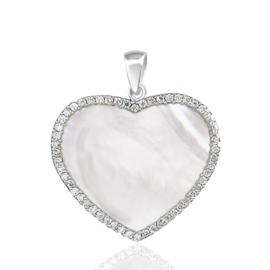 zilveren parelmoer zirkonia kettinghanger