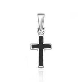 Zilveren zwarte kruis kettinghanger