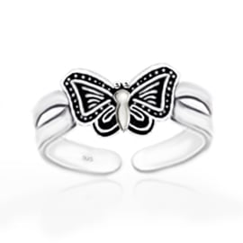 silver toe ring butterfly