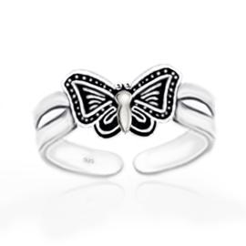 zilveren teenring vlinder