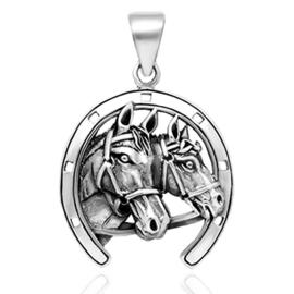 zilveren paard hoefijzer kettinghanger