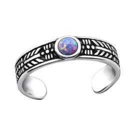 silver toe ring Opal purple