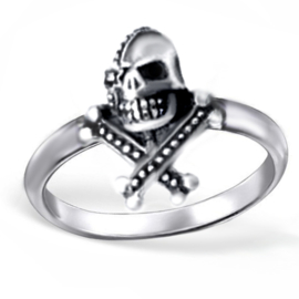 zilveren piraten skull ring
