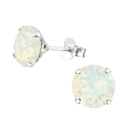 zilveren oorknopjes Swarovski opaal kristal 8 mm